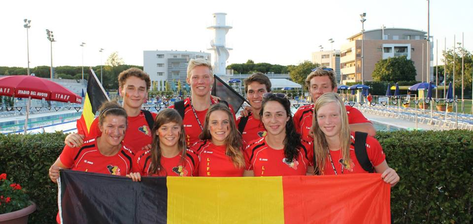Joni and his teammates representing Belgium at an international competition.
