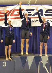 Kaisla bringing home the gold at the 2014 Big East Championships